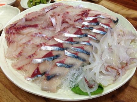 sliced raw fish