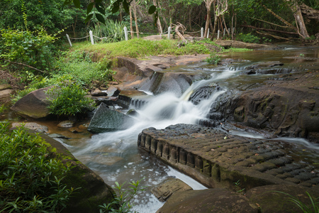 View of Kbal Spean the mystery waterfall on Kulen mountains range of the ancient Khmer empire in Siem Reap province of Cambodia. Stock Photo