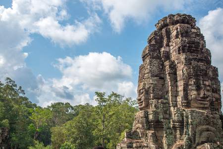 View of an architecture of Bayon face at Bayon Castle in Siem Reap, Cambodia.