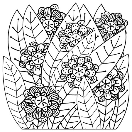 whimsical pattern: Whimsical garden adult coloring book page. Soft intricate pattern. Vector illustration.