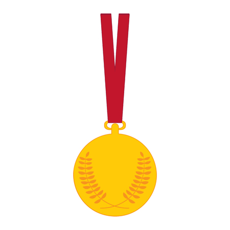 olimpic: Gold medal Medal with Olive Branch and red ribbon. Vector illustration golden medal icon isolated on white background.