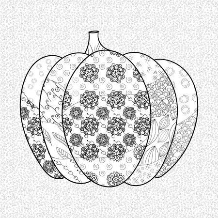 pumkin: Pumkin adult coloring book page. Whimsical line art vector illustration. Illustration