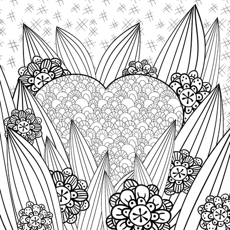 whimsical: Whimsical garden adult coloring page. Hand drawn vector illustration. Illustration