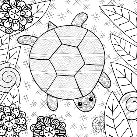 whimsical: Cute turtle adult coloring book page. Happy smiling turtle in garden. Whimsical line art vector illustration.