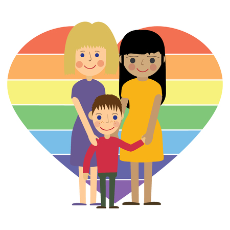 gay family: Gay family. Two women with child. Flat vector illustration isolated with lgbt sign background.