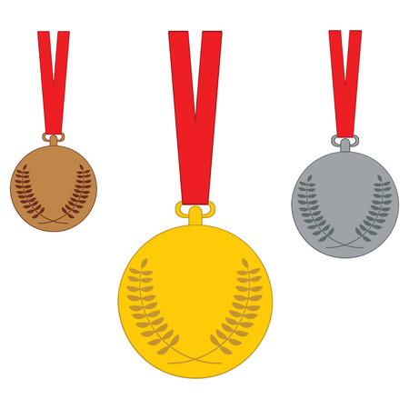 bronze medal: Gold, Silver, Bronze medal. Set of medal icons. Vector illustration isolated on white background. Illustration