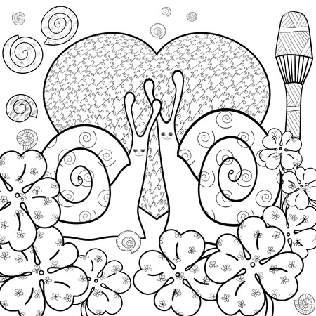 magic mushroom: Cute snail adult coloring book page. Snails in whimsical garden. Big heart, love. Magic mushroom. Shells. Clover leaves, luck. Line art vector illustration.