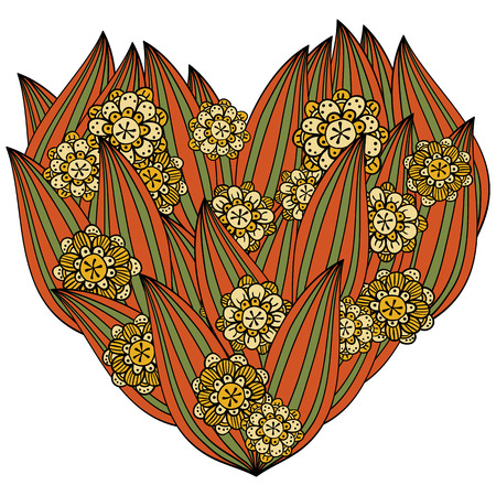 valentin's: Colored heart in zentangle style, leaves and flowers, isolated onn white background. Whimsical line art for valentins day coloring book. Red, green, yellow vector illustration.