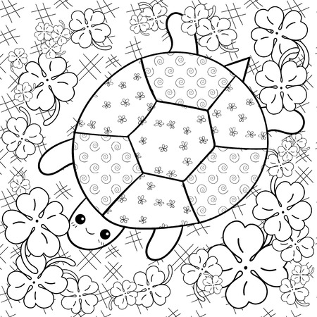 whimsical: Turtle Heaven adult coloring book page. Happy turtle in clover garden. Whimsical line art illustration.