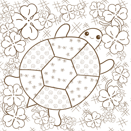 whimsical: Turtle Heaven adult coloring book page. Cute turtle in clover garden. Whimsical line art illustration. Brown outline.