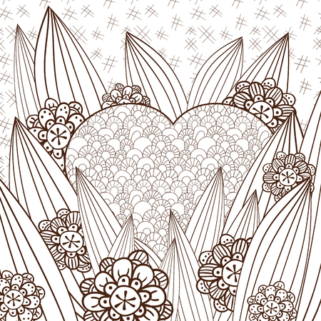 whimsical: Whimsical garden adult coloring page. Hand drawn illustration. Brown outline.