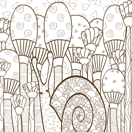 whimsical: Cute snail adult coloring book page. Snail in whimsical garden.