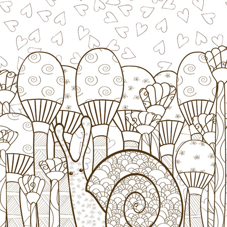 whimsical: Cute snail in whimsical mushroom forest adult coloring book page. Line art vector illustration. Brown outline.
