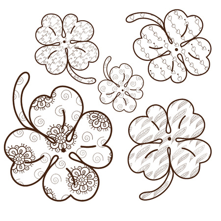 whimsical: Clover leaves adult coloring book page. 5 seamless patterns are included in EPS. Whimsical line art Vector illustration. Brown outline. Illustration