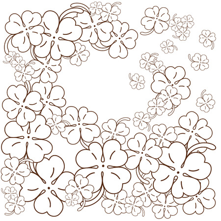 Adult coloring book page. Four leaf clovers. Hand drawn Vector Illustration. Black and white line art.