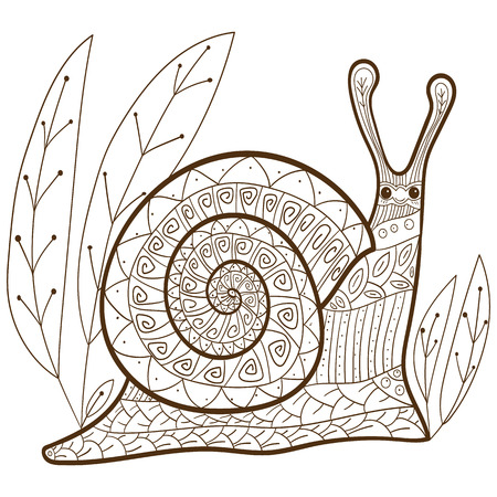 relax garden: Cute snail adult coloring book page. Happy smiling snail in forest. Whimsical line art. vector illustration. brown outline.