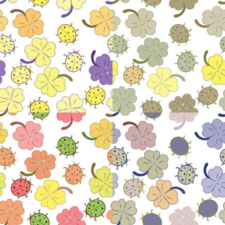 seamless clover: Ladybugs and clover leaves charm seamless pattern set. Vector illustration.