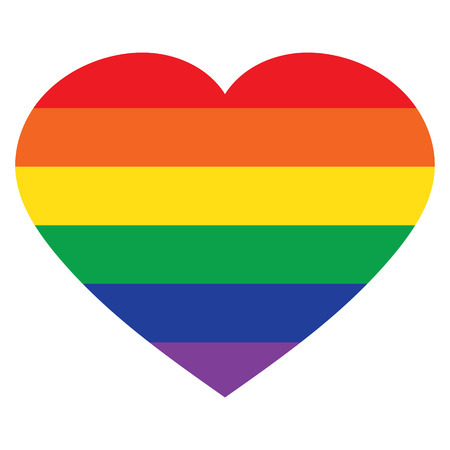 Vector heart rainbow icon, lgbt community sign isolated on white background. Иллюстрация