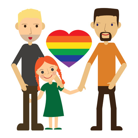 loving hands: Vector Illustration of a Happy Gay Couple with a kid. Isolated on white background. Standing, holding hands, smiling, loving. Two dads and one cute little daughter.