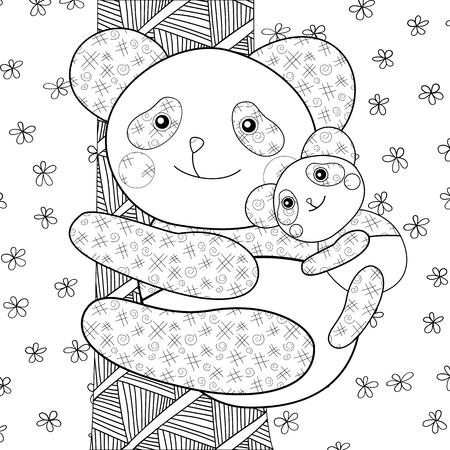 Panda chico libro de colorear. Ilustración del vector.