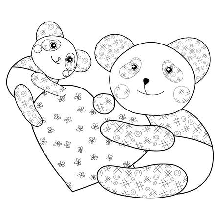 Kid Libro De Colorear Panda Linda Con El Corazón Y El Bebé Panda ...