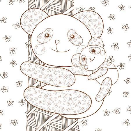Malvorlage Niedlichen Panda Umarmt Sein Baby Wunderliche Linie