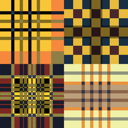 red plaid: Set of seamless tartan patterns. Plaid twill blue, red and yellow palette tartan pattern. Vector illustration.