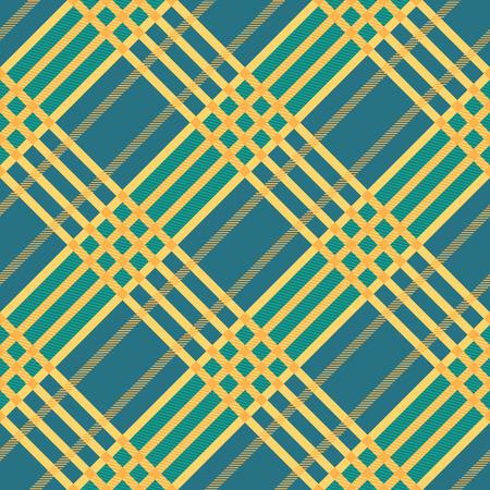 twill: Seamless tartan pattern. Plaid twill blue yellow palette repeated tartan pattern. Diagonal texture Vector illustration.