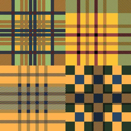 twill: Set of seamless tartan patterns. Plaid twill sand palette tartan pattern