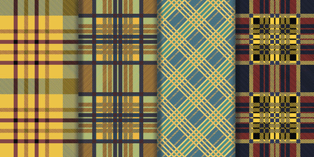 twill: Set of seamless tartan patterns. Plaid twill colorful palette tartan pattern. Illustration