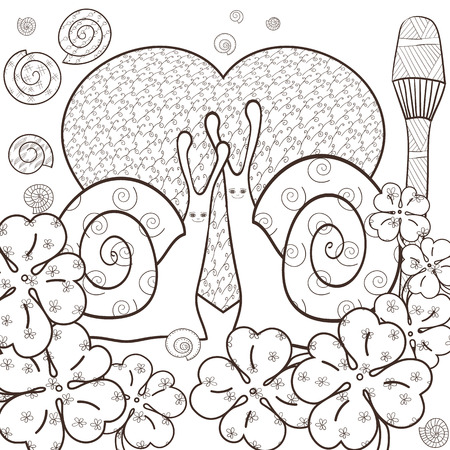 magic mushroom: Cute snail adult coloring book page. Snails in whimsical forest with big heart and Magic mushroom. Shells and Clover leaves, good luck sign. Line art illustration.