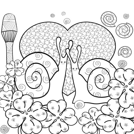 magic mushroom: Cute snail adult coloring book page. Snails in whimsical forest with big heart and Magic mushroom. Shells and Clover leaves, good luck sign. Line art illustration. Black outline.