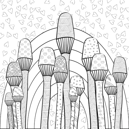 Adult Coloring Book Page Rainbow In Magic Mushrooms Forest Whimsical Line Art Hand Drawn
