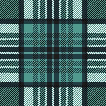 twill: Seamless tartan pattern. Plaid blue black white palette repeated tartan pattern. Twill texture Vector illustration.