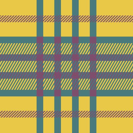 twill: Seamless tartan pattern. Plaid yellow pink blue palette repeated tartan pattern. Twill texture Vector illustration.