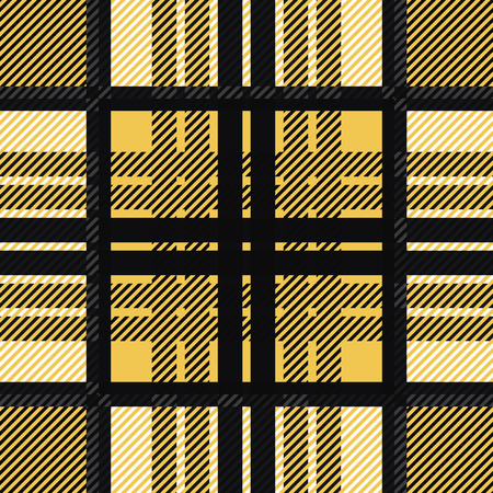 twill: Seamless tartan pattern. Plaid golden black white palette repeated tartan pattern. Twill texture Vector illustration.