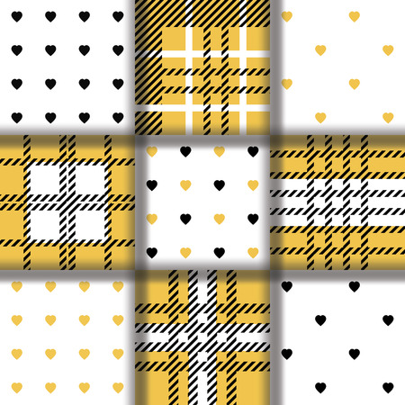 twill: Set of seamless twill plaid tartan pattern and pattern with golden black hearts. Repeated twill texture for web, print, fashion fabric, textile design, background for invitation card Vector. Illustration