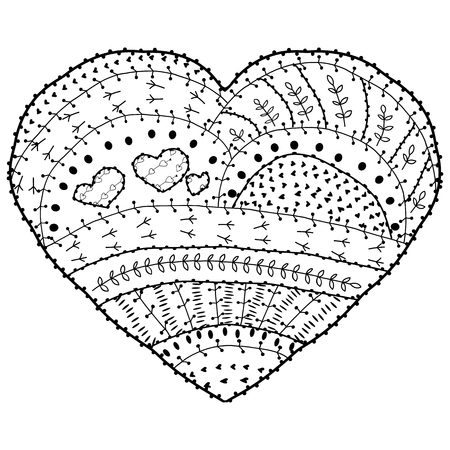 whimsical pattern: Adult coloring book page Vector heart shaped pattern Ethnic design in whimsical style with floral elements, Black line art on white background. Illustration