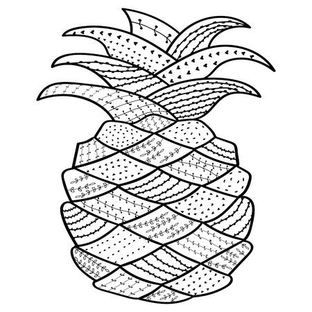 Adult Malbuch Seite Ananas. Wunderliche Linie Kunst Für Anti-Stress ...