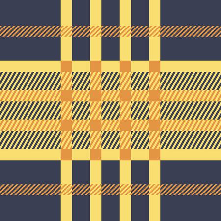 twill: Seamless twill tartan pattern. Plaid yellow orange blue palette repeated tartan pattern. Twill texture Vector illustration.