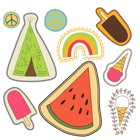 magnets: happy embroidery colorful patches collection. vector set illustration for stickers, patches, magnets, greeting card decoration. Illustration