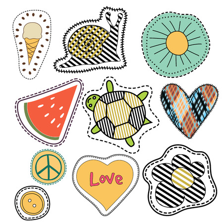 patches: happy embroidery colorful summer patches collection. vector set illustration for stickers, patches, magnets, greeting card decoration.