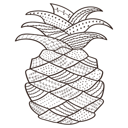 Adult Coloring Book Page Pineapple. Whimsical Line Art For ...