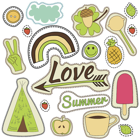wigwam: hippie embroidery colorful summer patches collection. vector set illustration love, arrow, wigwam, rainbow, pineapple,smile, cloud, button for stickers, patches magnets greeting card decoration