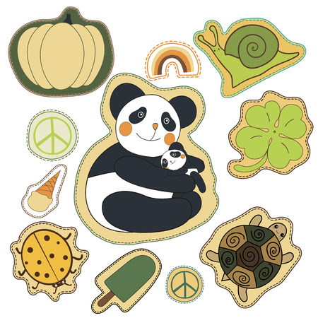 magnets: happy embroidery colorful summer patches collection. vector set illustration for stickers, patches, magnets, greeting card decoration.
