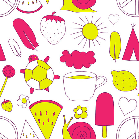 wigwam: hand drawn neon doodles pattern vector illustration coffee cup, sun, ice cream, heart, cloud, rainbow, turtle, feather, pacific, snail, wigwam watermelon strawberry isolated on white background