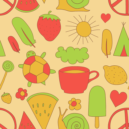 pacific: hand drawn doodles pattern vector illustration coffee cup, sun, ice cream, heart, cloud, rainbow, turtle, feather, pacific, snail, wigwam watermelon strawberry isolated on white background Illustration