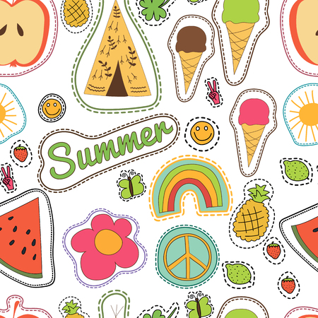 pacific: hippie embroidery colorful summer patches pattern. Vector seamless pattern with pineapple, watermelon, ice cream, lemon, butterfly, wigwam, clower, strawberry, sun smile rainbow pacific