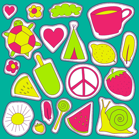 wigwam: hippie embroidery neon palette summer patches collection. vector set illustration coffee cup, wigwam, sun, cloud, heart, ice cream, snail, turrtle, watermelon, strawberry, feather, for stickers patches magnets greeting card decoration