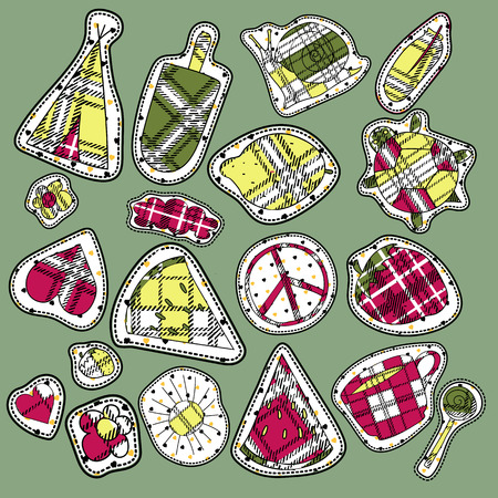wigwam: hippie embroidery neon tartan summer patches collection. vector set illustration coffee cup, wigwam, sun, cloud, heart, ice cream, snail, turrtle, watermelon, strawberry, feather, for stickers patches magnets greeting card decoration Illustration
